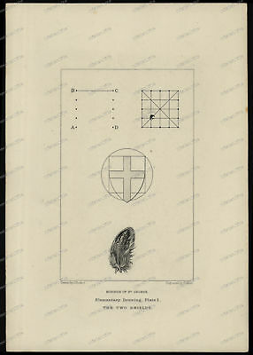 Druck-Stahlstich-Engraving-Drawn byJ.Ruskin-G.Allen-The two Shields-79