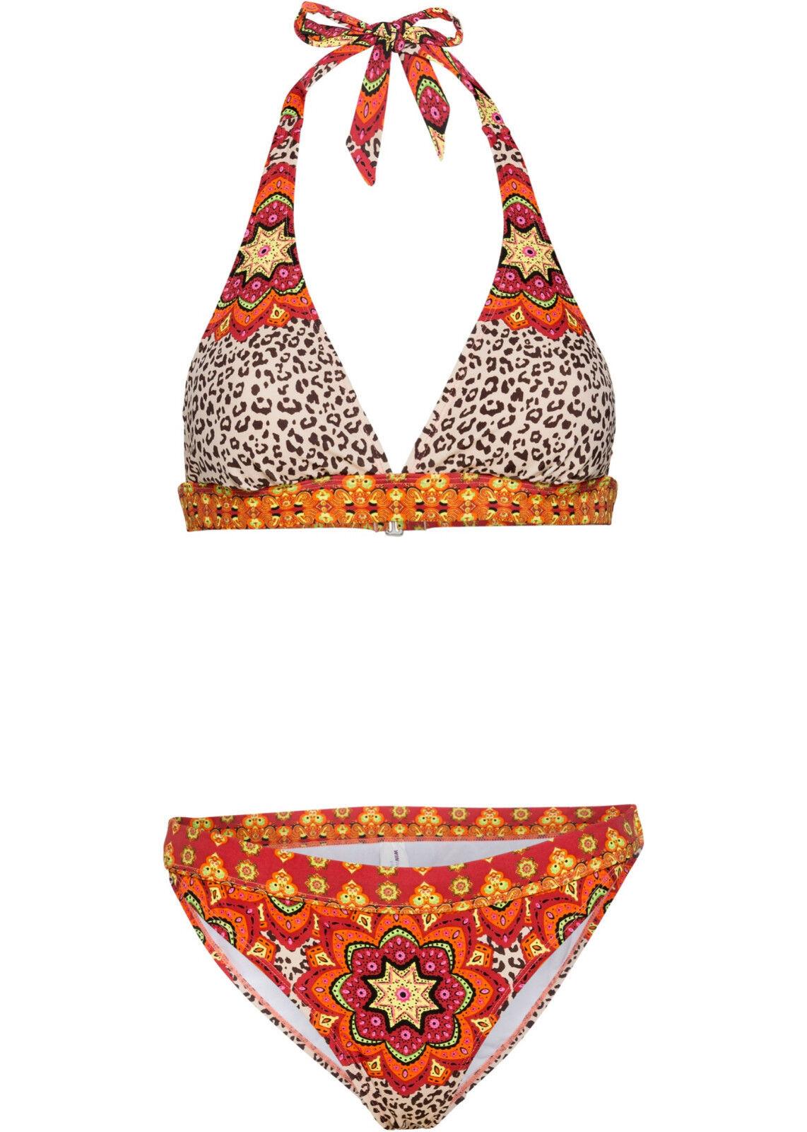 Neckholder Bikini Set rot orange bedruckt  36 38 40 42 44 46 BH ohne Bügel 646