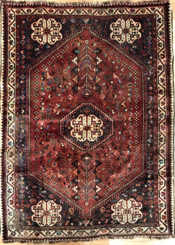 Perfect Persian - 1940s Antique Tribal Carpet - Nomadic Rug - 3.9 X 5.1 Ft.