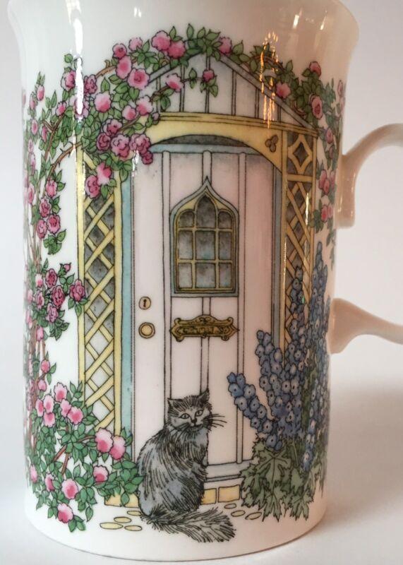 Dunoon Doorways Cats Ceramic Coffee Mug Tea Cup Flower Garden Kitty Hollyhocks