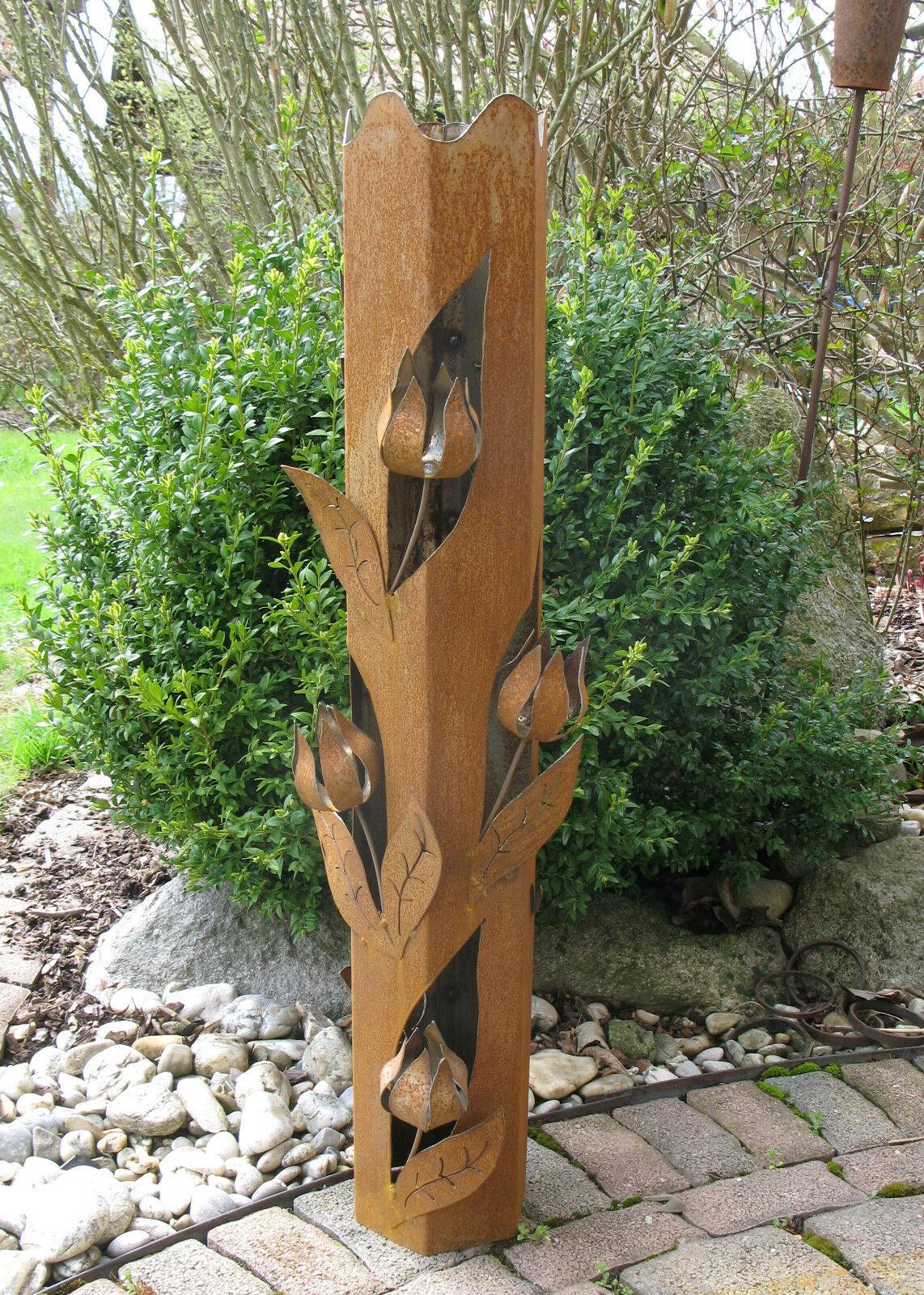 Fackel  Stele  Säule - Rost-Optik Garten-Deko Windlicht - Einzigartig - groß