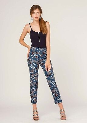 Pantaloni donna vita alta eleganti a fantasia classici dritti blu da S M XL XXL