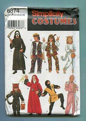 Simplicity Muster 8874 Kinder Kostüme Ninja Reaper Zauberer Baby Größe 3-8 - Kinder Ninja Kostüm Muster