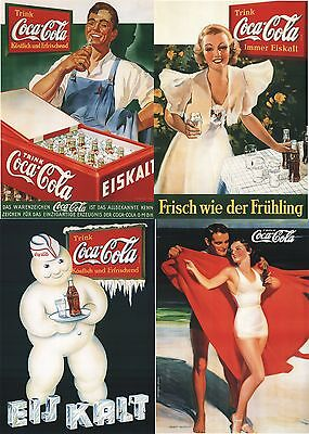 4x Coca Cola Poster jedes PLAKAT 1A  Zustand 60x42cm Versand in Posterrolle