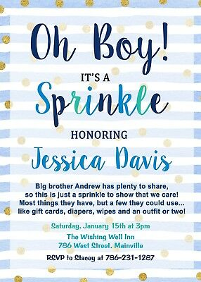 Baby Sprinkle Invitations (Baby Sprinkle Invitation, Blue, Oh Boy, Baby Boy, Shower, Sprinkle,)