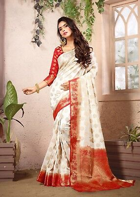 Traditional Red Color Banarasi Art Silk Saree With Unstitched blouse Piece-28401