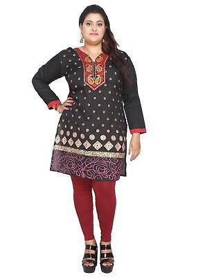 Uk Stock   Plus Size   Women Indian Kurta Top Kurti Tunic Shirt Dress Eplus117c