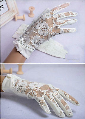 Women Soft Cotton Floral Lace Short Gloves ~ Ivory, Pink, White, Black (Size S)](Pink Lace Gloves)