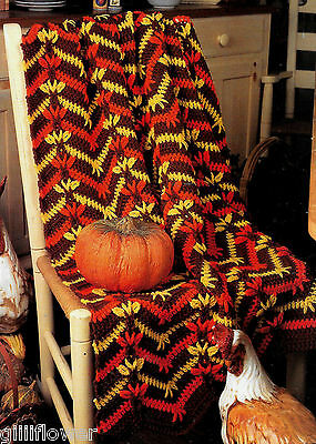 TURKEY TRACKS AFGHAN / TOWEL HOLDER - PUMPKIN BASKET  HALLOWEEN CROCHET PATTERNS