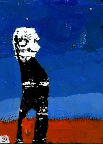 fear of mr nobodys there e9Art ACEO Outsider Art Painting Brut Folk Abstract ATC