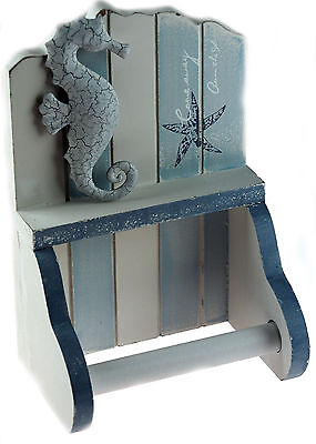 Nautical Blue White Beach Hut Bathroom Loo Toilet Roll Holder SEAHORSE