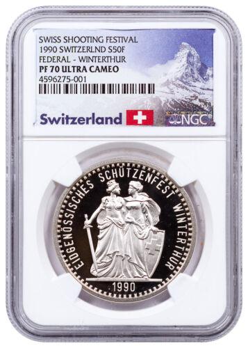 1990 Switzerland Shooting Festival Thaler Winterthur Silver NGC PF70 UC SKU48980