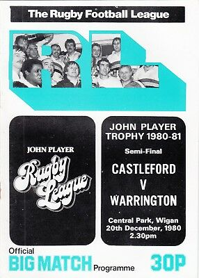 Castleford v Warrington 1980/1 (20 Dec) JP Trophy Semi-Final @ Wigan