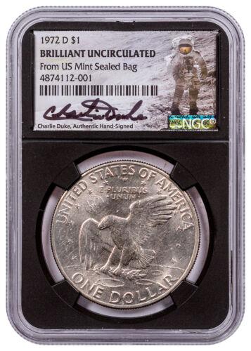 1972 D Eisenhower Dollar Frm US Mint Sealed Bag NGC BU Blk Charlie Duke SKU56701
