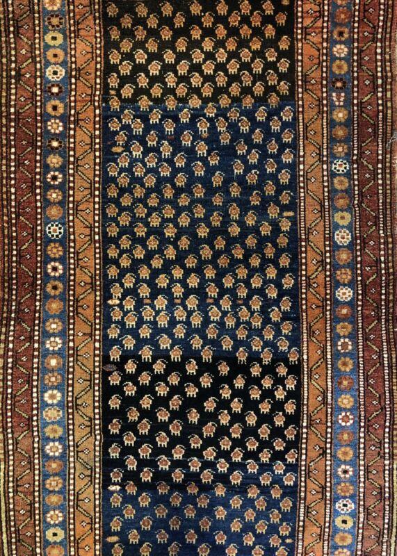 Terrific Tribal - 1910s Antique Kurdish Rug - Oriental Carpet - 3.8 X 6.6 Ft.