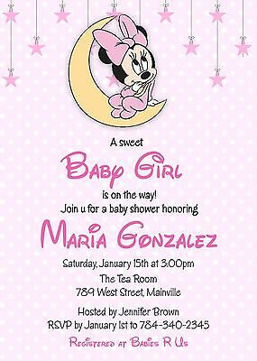 Minnie Mouse Baby Shower, Baby Girl, Minnie, Baby, Pink, Girl, Invitation](Baby Girl Invitations)