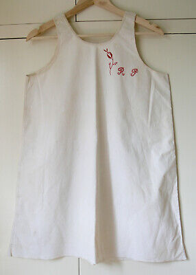 Vintage French White Chemise Linen Nightie Shift Camisole Embroidered RP