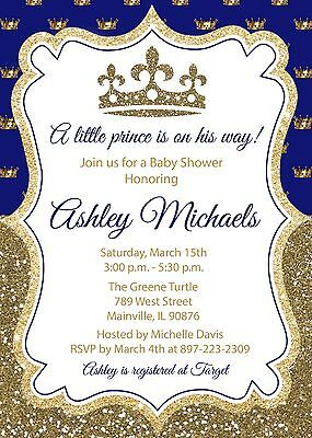 Prince, Royal, King, Blue, Gold, Baby Shower -