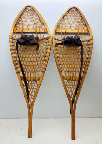 """Antique Vintage 14"""" X 43"""" Snowshoes Usable or Decor - Free Shipping"""