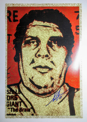 Shepard Fairey Signed 12x18 'The Brain' Andre Giant Photo Print PROOF COA Obey
