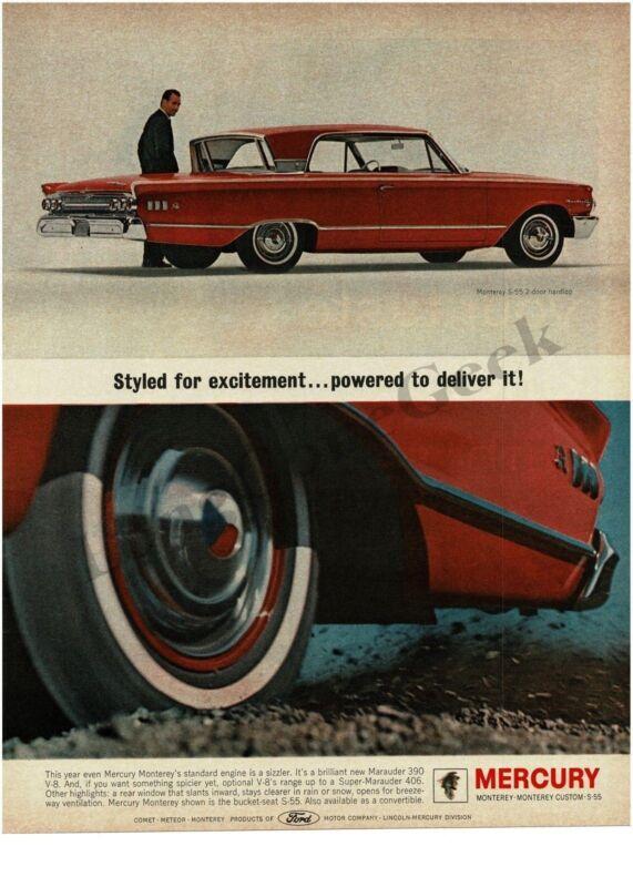 1963 MERCURY Monterey S-55 Carnival Red 2-door Hardtop Vintage Ad