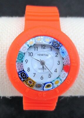 Murano Wristwatch with Original Murano Glass with Silicone Strap Orange Color