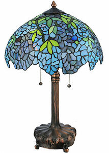 Blue Wisteria Tiffany Style Stained Glass 25 Quot Table Lamp