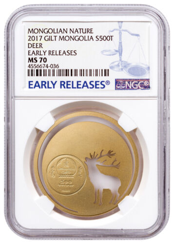 2017 Mongolia Nature Roaring Deer Cut-Out 1/2oz Silver Gilt NGC MS70 ER SKU47643