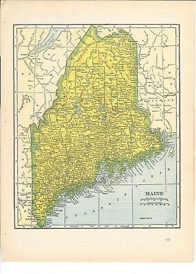 1942 Vintage MAINE Map ready to frame for art