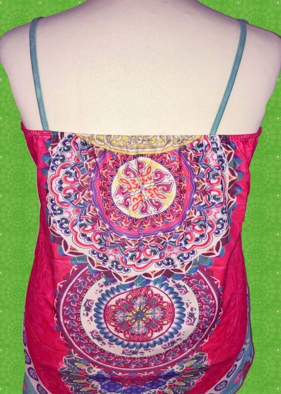 G277 Boho Mini Kleid Hippie mit buntem Druck Festival pink ...