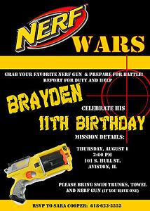 Nerf Birthday Party Invitations U Print Ebay