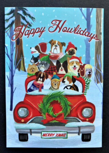 Dogs Car Christmas Cards SET Of 4 SMALL Punch Studio Glitter Happy Howlidays