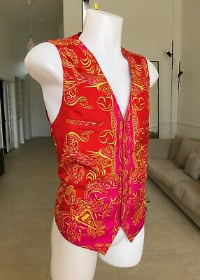 (GIANNI VERSACE COUTURE red fuchsia gold silk vest Barocco print from ss 2001)