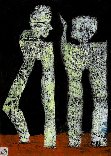 their ghost-mouths still full of unsaid things e9Art ACEO Outsider Art Painting