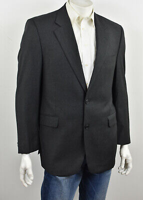 JACK VICTOR COLLECTION Solid Charcoal Super 100's 2-Btn Suit Jacket 42R
