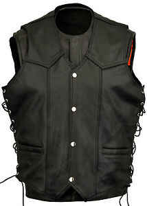 Mens-Leather-Fashion-Vest-Waistcoat-Laced-Sides-Motorcycle-Cruiser-Top-Vintage