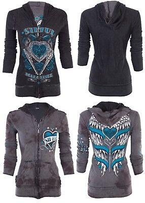 SINFUL by AFFLICTION Women REVERSIBLE Hoodie ZIP UP Jacket LOVE BANDIT Wings -