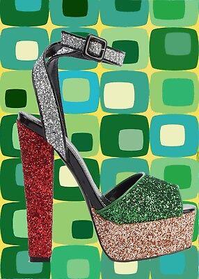 S48✪ 60er 70er Jahre Hippie Plateau Schuhe Riemen Sandale Disco Glitter Flitter