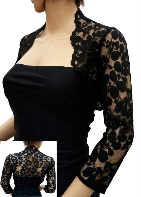 Womens Black Leaf Design Lace 3/4 sleeve Bolero , Jacket Sizes UK 8 to 18