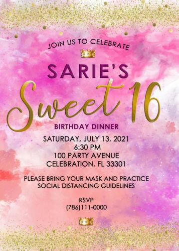 Sweet Sixteen Digital Electronic Invitation