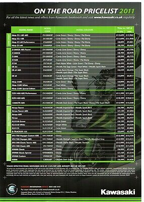 Kawasaki Motorcycles Price & Dealer List 2010-11 UK Market Leaflet Brochure