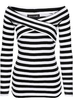 Carmen Viskose Pullover Gr. 40/42 - 52/54 schwarz/weiß gestreift 956443 online kaufen