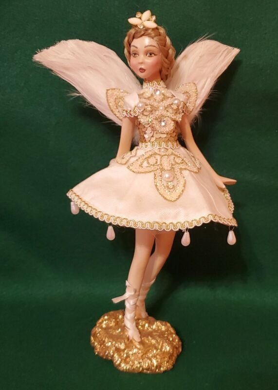 Feathered Sequined Fairy 10 inch fabric dress Figurine
