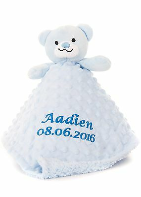 Personalised Embroidered Baby Boy's Blue Teddy Comforter Toy  Gift