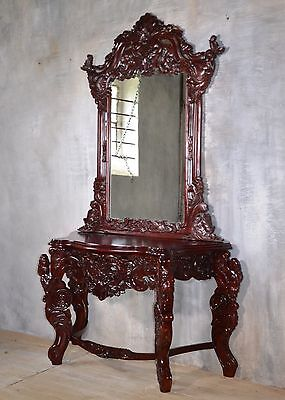 Dressing Table Mahogany Console Side Table Mirror Handmade Wood Baroque Style