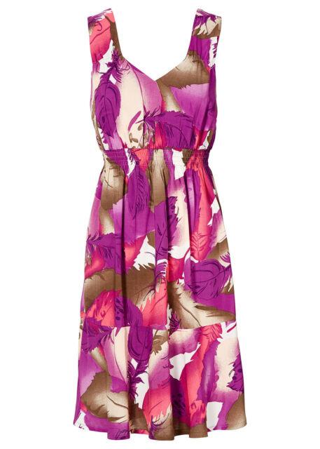 Damen Kleid, Sommerkleid ,Feder-Print, Pfingstrose, Gr. 36 ,NEU