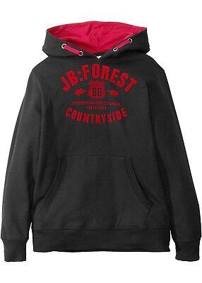 Kinder Unisex Sweat Shirt schwarz  Druck rot 100% Baumwolle mit Kapuze neu 61351 Kinder Sweatshirt