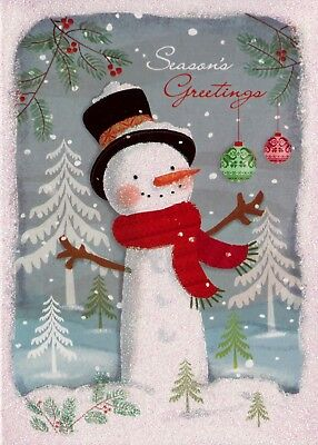 Christmas Snowman Seasons Greetings Holiday Greeting Cards   ()