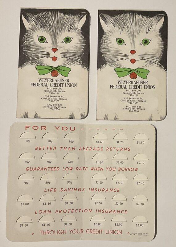 3 Vintage Dime COIN SAVER BOOKS, Weyerhaeuser Federal Credit Union, Oregon