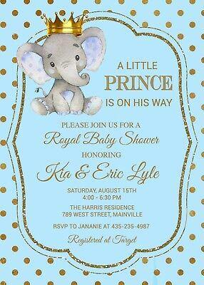 Elephant Prince Baby Shower Invitation, Blue, Gold, Elephant, Prince, Boy ()